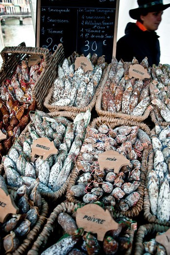 Traditional sausage sale in a street market in Annecy, Haute Savoie, France : Stock Photo