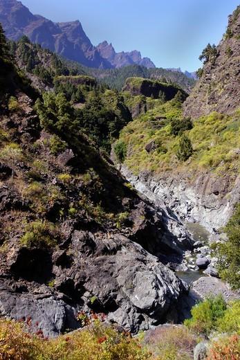 Stock Photo: 1566-870227 Barranco de las Angustias, Taburiente River, Caldera de Taburiente National Park, Biosphere Reserve, ZEPA, LIC, La Palma, Canary Islands, Spain, Europe