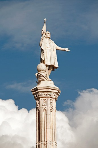 Stock Photo: 1566-870378 Christopher Columbus statue, Monument of Cristobal Colon, Plaza de Colon, Madrid, Spain