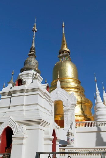 Stock Photo: 1566-870557 The chedi and stupas at Wat suan dok, Chiang Mai, Thailand