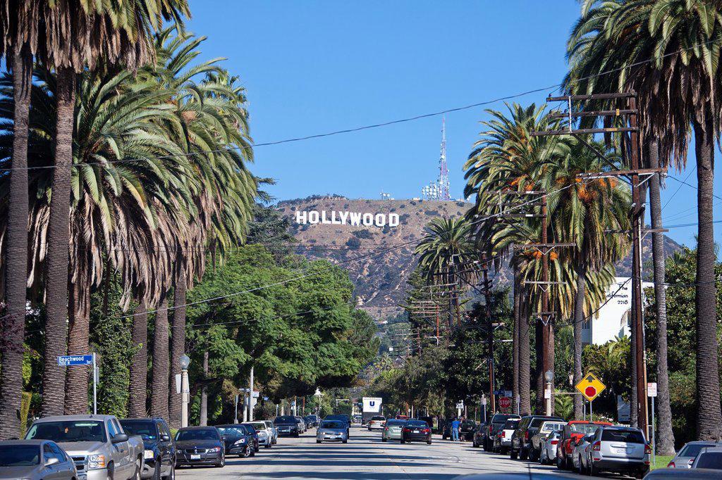 Stock Photo: 1566-870665 USA-California-Los Angeles City-Hollywood sign
