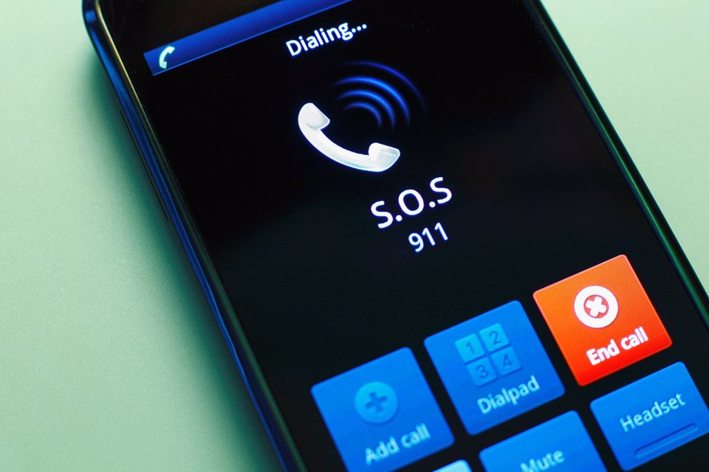 Stock Photo: 1566-870822 mobile phone call emergency number