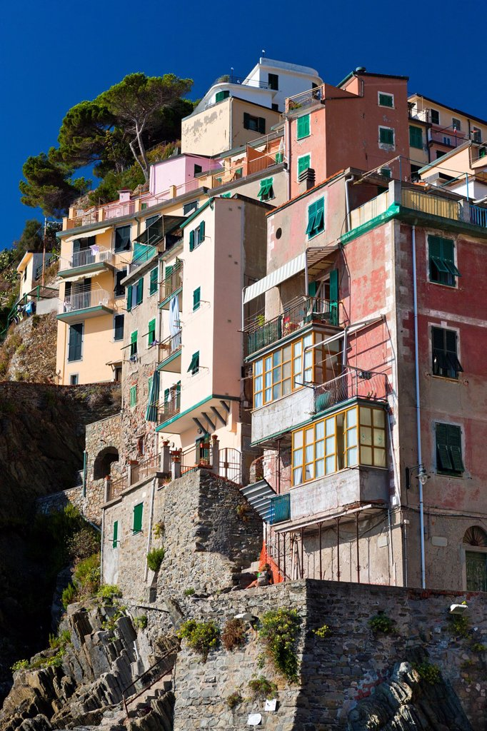 Riomaggiore, Cinque Terre National Park, Province of La Spezia, Liguria, Italy, Europe : Stock Photo