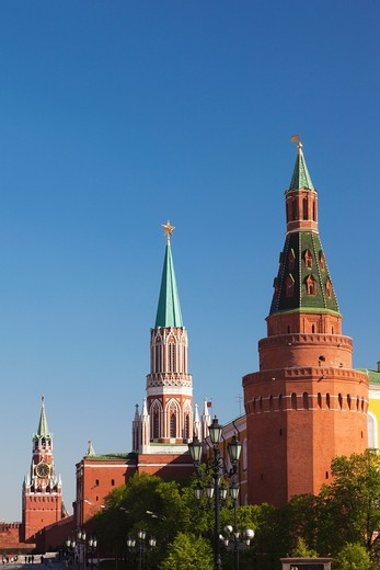 Stock Photo: 1566-871244 Russia, Moscow Oblast, Moscow, Red Square, Spasskaya Tower, Saint Nicholas Tower and Corner Arsenal Tower