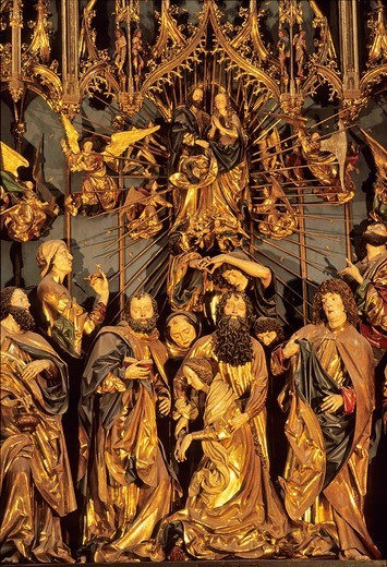 Poland, Krakow, World Heritage Site, St  Mary´s Basilica, Wooden altarpiece carved by Veit Stoss 15th C, The dormition of Mary : Stock Photo
