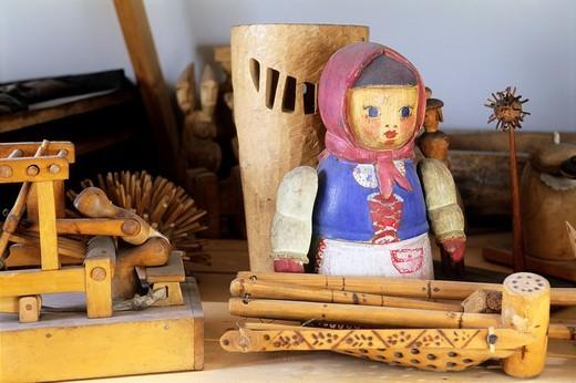 Poland, Zakopane, Museum of Fine Arts, Wooden toys : Stock Photo