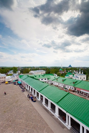 Russia, Vladimir Oblast, Golden Ring, Suzdal, elevated view of trading arches on Torgovaya Square from Resurrection Church : Stock Photo