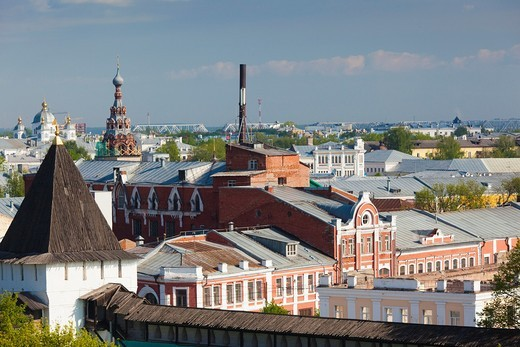 Stock Photo: 1566-871960 Russia, Yaroslavl Oblast, Golden Ring, Yaroslavl, Yaroslavl Kremlin, elevated city view from the Cathedral of the Transfiguration