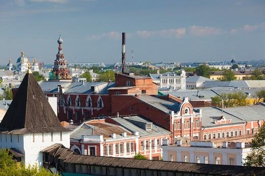 Russia, Yaroslavl Oblast, Golden Ring, Yaroslavl, Yaroslavl Kremlin, elevated city view from the Cathedral of the Transfiguration : Stock Photo