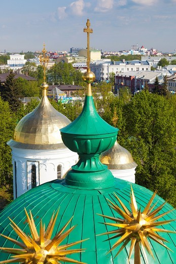Stock Photo: 1566-871963 Russia, Yaroslavl Oblast, Golden Ring, Yaroslavl, Yaroslavl Kremlin, elevated city view from the Cathedral of the Transfiguration