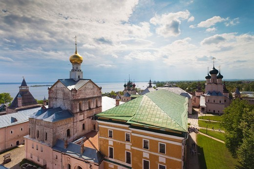 Russia, Yaroslavl Oblast, Golden Ring, Rostov-Veliky, Rostov Kremlin, elevated view : Stock Photo