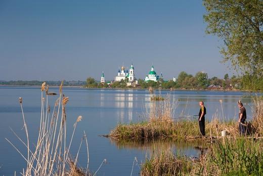 Stock Photo: 1566-872012 Russia, Yaroslavl Oblast, Golden Ring, Rostov-Veliky, Monastery of Saint Jacob and Lake Nero with fishermen, NR