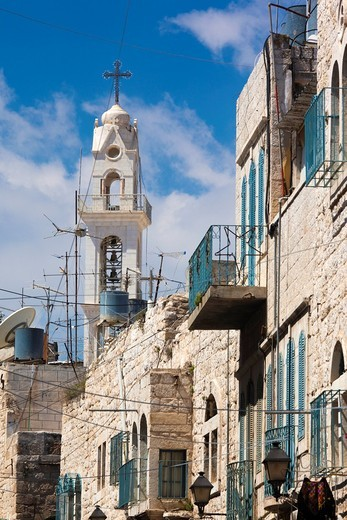 Israel, West Bank, Bethlehem, buildings on Manger Square : Stock Photo