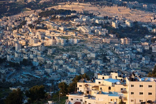 Stock Photo: 1566-872505 Israel, Jerusalem, elevated view of Arab village in the Kidron Valley, sunset