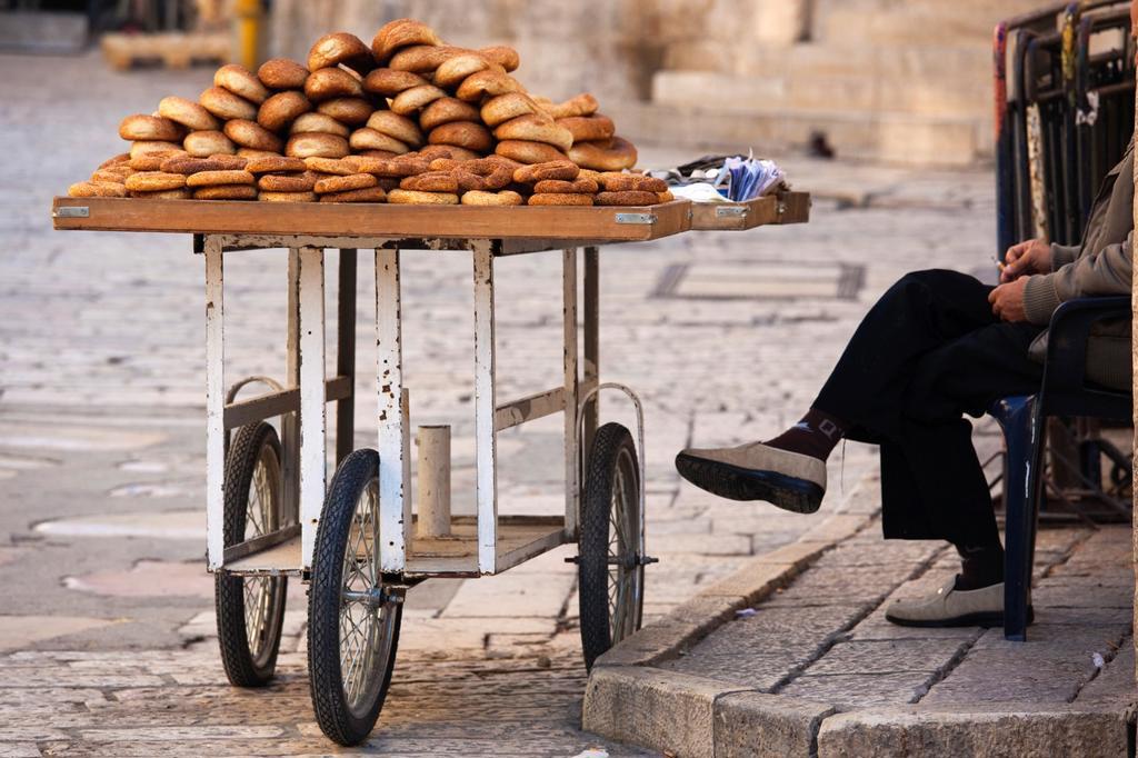 Israel, Jerusalem, Old City, Muslim Quarter, detail of bread merchant : Stock Photo