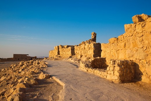 Israel, Dead Sea, Masada, dawn view of the Masada Plateau, ruins of the synagogue : Stock Photo