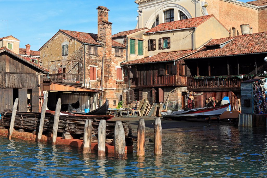 The Squero di San Trovaso, one of the last remaining gondola boat yards in Venice, Veneto, Italy, Europe : Stock Photo