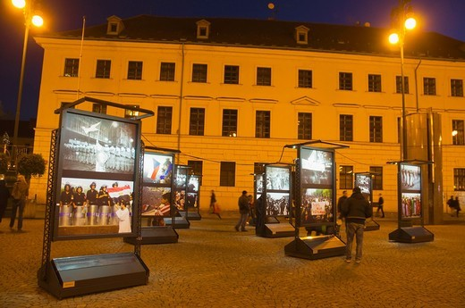 Photo exhibition celebrating the end of Socialist dictatorships 22 years earlier at Namesti Republiky square Prague Czech Republic Europe : Stock Photo