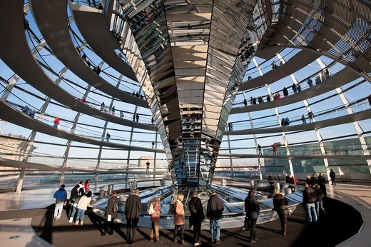 Stock Photo: 1566-874701 View of the glass dome above debating chamber at the Reichstag in Berlin Germany, Architect Norman Foster