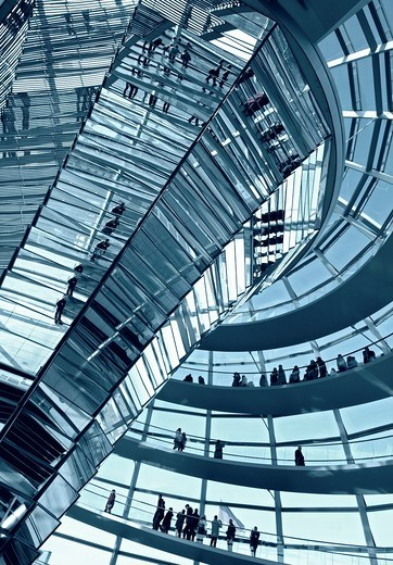 View of the glass dome above debating chamber at the Reichstag in Berlin Germany, Architect Norman Foster : Stock Photo