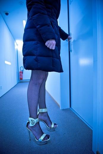Prostitute in a hotel, Canton Ticino, Switzerland : Stock Photo