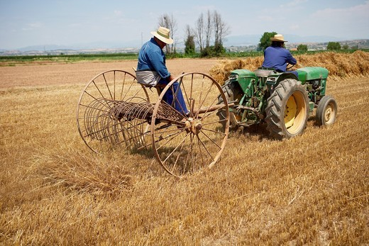 Old Machine with Tractor  LLeida  Spain : Stock Photo