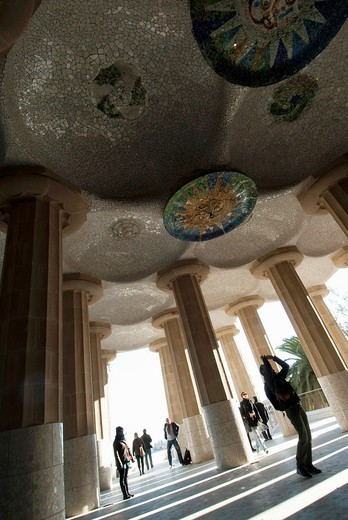 Park Guell is a garden complex with architectural elements situated on the hill of el Carmel in the Gracia district of Barcelona, Catalonia, Spain : Stock Photo