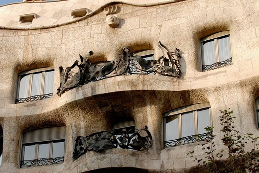 La Pedrera house, designed by popular modernist architect Antoni Gaudi  This emblematic building is located in commercial Paseo de Gracia avenue, in Barcelona, Spain : Stock Photo