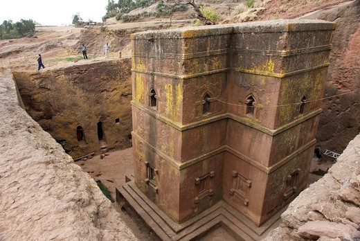 Stock Photo: 1566-875982 Exterior of Bet Giyorgis or the Church of St  George, a monolithic rock-hewn church carved from solid roc in the shape of a cross deemed as a UNESCO World Heritage Site located in Lalibela, a holy city in Ethiopia