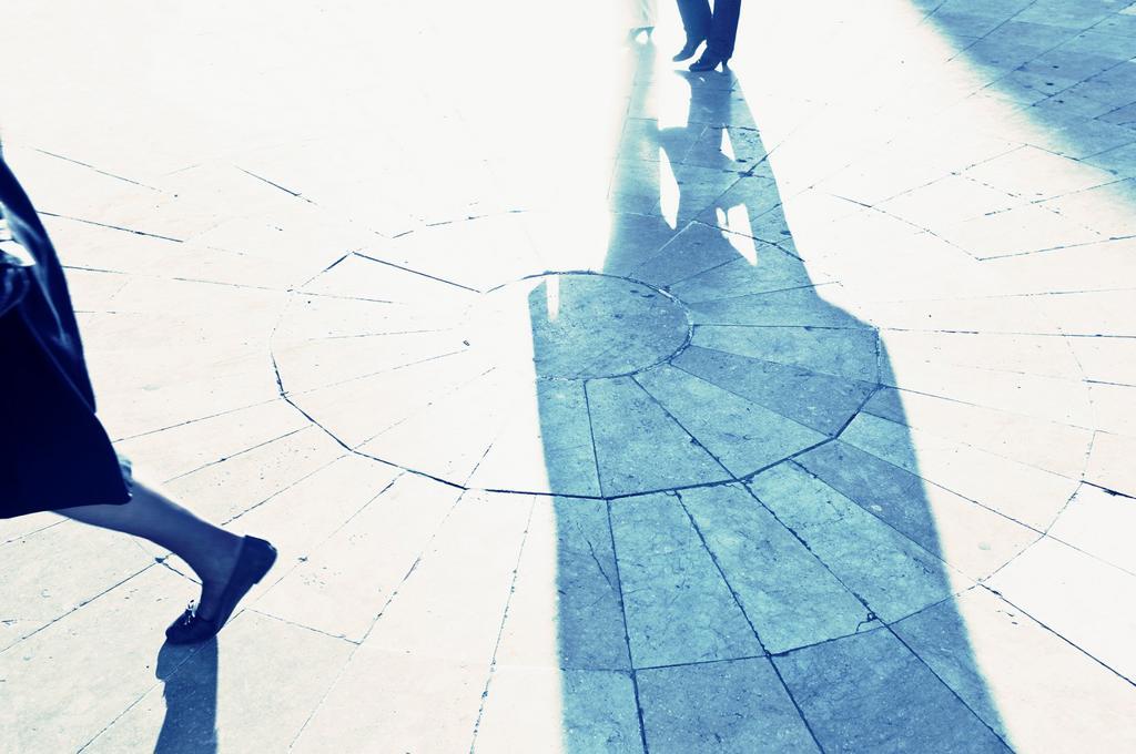 pedestrians and shadows, Valencia, Spain : Stock Photo