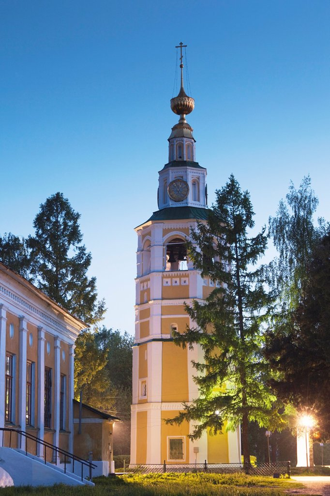 Russia, Yaroslavl Oblast, Golden Ring, Uglich, Uglich Kremlin, Transfiguration Cathedral, evening : Stock Photo
