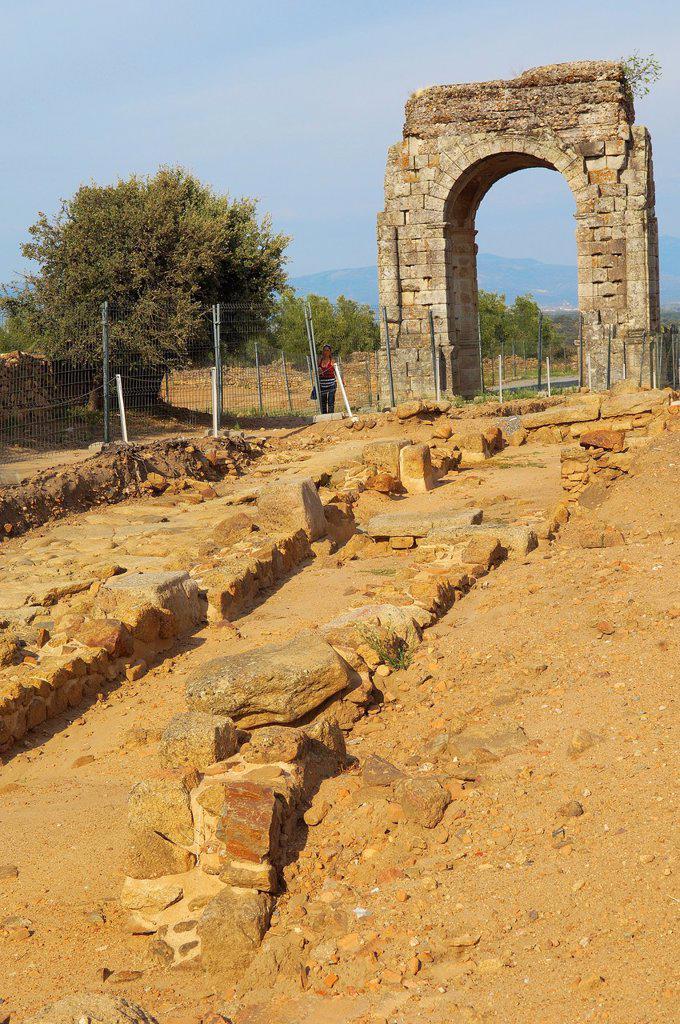 Stock Photo: 1566-876532 Roman arch of Caparra (1st-2nd century AD), Caparra, Zarza de Granadilla, Via de la Plata, Caceres province, Extremadura, Spain