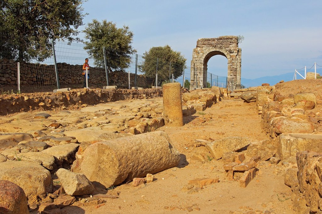 Stock Photo: 1566-876533 Roman arch of Caparra (1st-2nd century AD), Caparra, Zarza de Granadilla, Via de la Plata, Caceres province, Extremadura, Spain