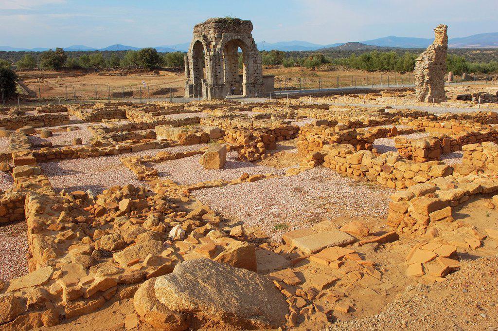 Stock Photo: 1566-876536 Roman arch of Caparra (1st-2nd century AD), Caparra, Zarza de Granadilla, Via de la Plata, Caceres province, Extremadura, Spain
