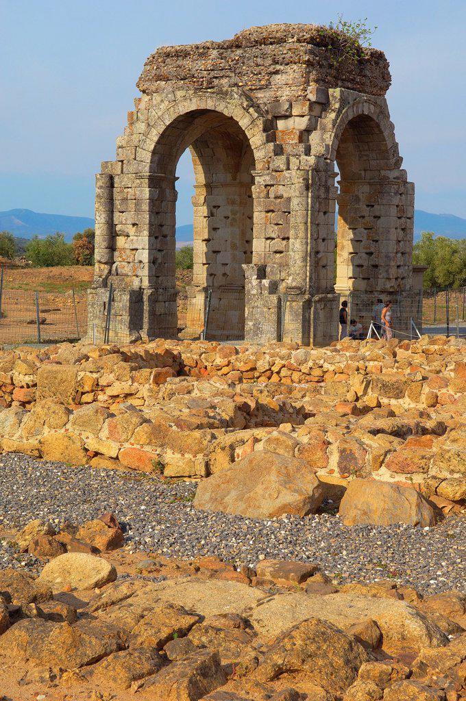 Stock Photo: 1566-876542 Roman arch of Caparra (1st-2nd century AD), Caparra, Zarza de Granadilla, Via de la Plata, Caceres province, Extremadura, Spain