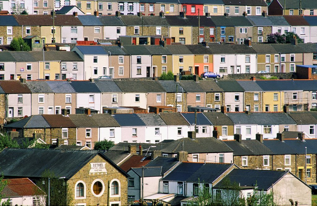 Stock Photo: 1566-877154 Tredegar town village coal mining community terraced houses and Bethel Baptist Church, Gwent, south Wales, UK