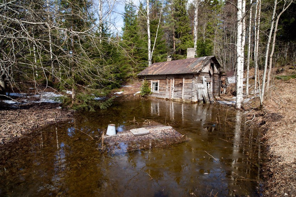 Stock Photo: 1566-877720 Old abandoned wooden Finnish sauna building made of logs at countryside and flooded well. Location Suonenjoki Finland Scandinavia Europe.