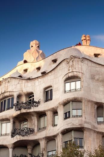 Stock Photo: 1566-878182 La Pedrera - Casa Milà - building from Antoni Gaudi in Passeig de Gràcia avenue, Barcelona, Spain