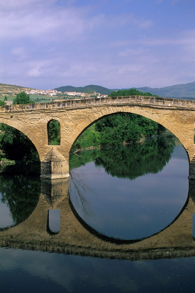 Stock Photo: 1566-879147 Romanesque bridge over Arga river, located on the Way of St James, Puente La Reina Community of Navarre Spain, Europe