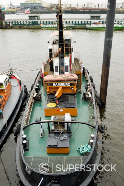 Tug boat on the Elbe River, Hamburg Harbor, Hamburg, Germany, Europe : Stock Photo