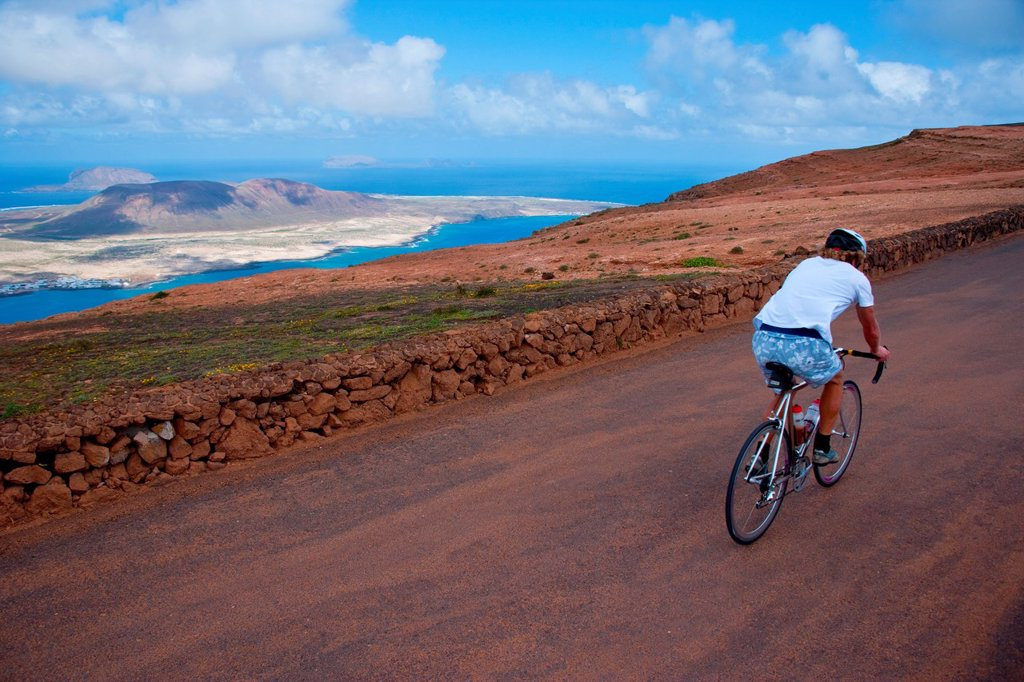 Bicycle route in Lanzarote, Canary Islands, Spain : Stock Photo