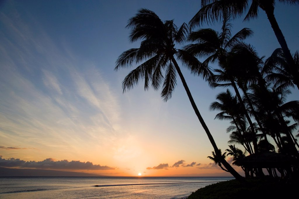Stock Photo: 1566-880209 Sunset, Kaanapali, Maui, Hawaii