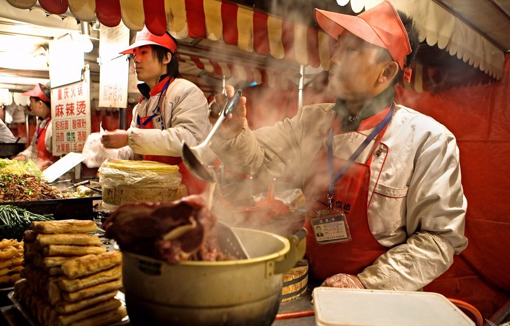 Donghuamen Night Food Market,near Wang Fu Jing Avenue shopping area,Beijing, China : Stock Photo
