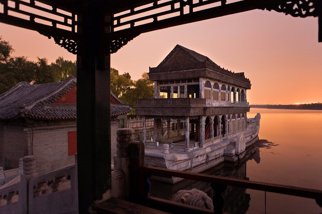 Stock Photo: 1566-880692 Summer Palace, in Kunming Lake  The Marble Boat,Beijing, China