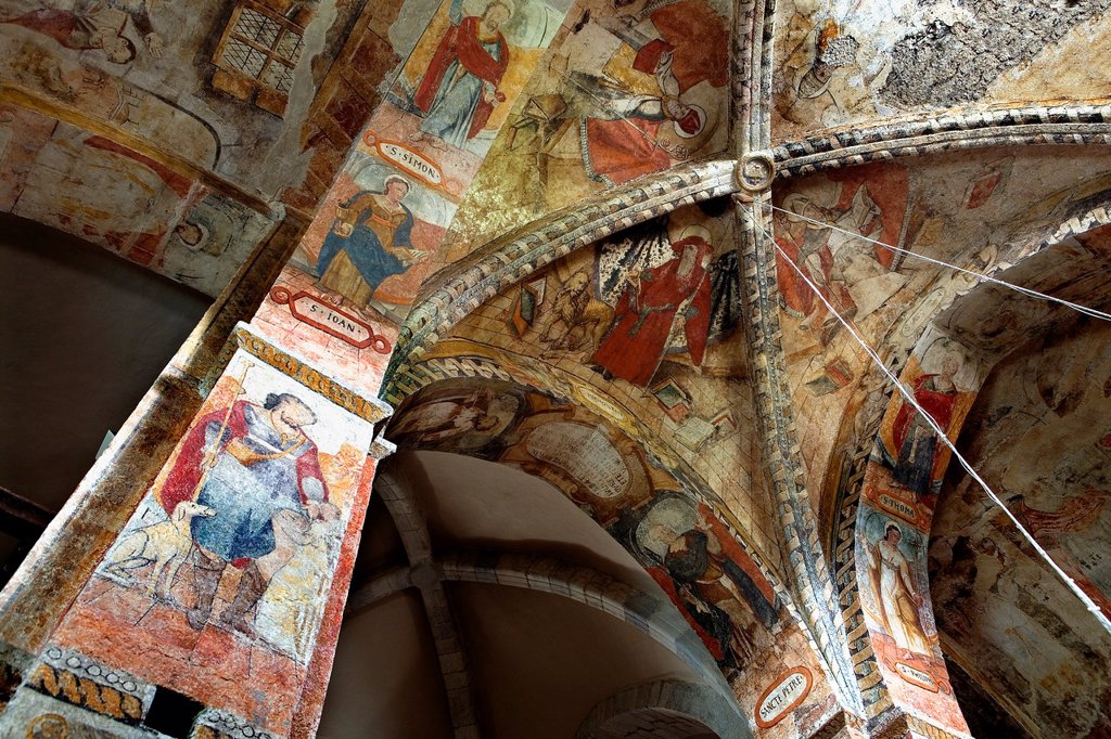Stock Photo: 1566-880704 Salardú  Sant Andrèu church  Interior  Paintings,Aran Valley,Pyrenees, Lleida province, Catalonia, Spain