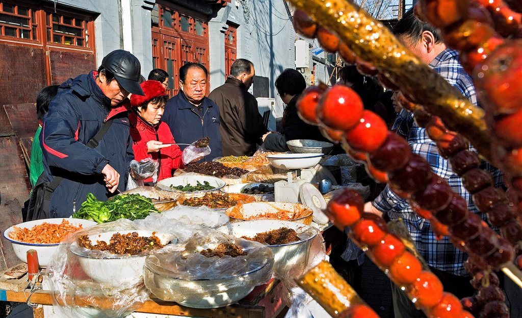 Stock Photo: 1566-880745 Food stall at Dashizuo Hutong,Beijing, China