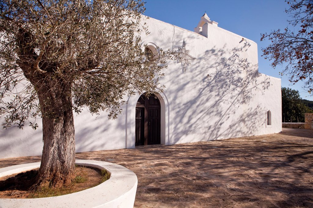 Church in Santa Agnès de Corona, Ibiza, Illes Balears, Spain : Stock Photo