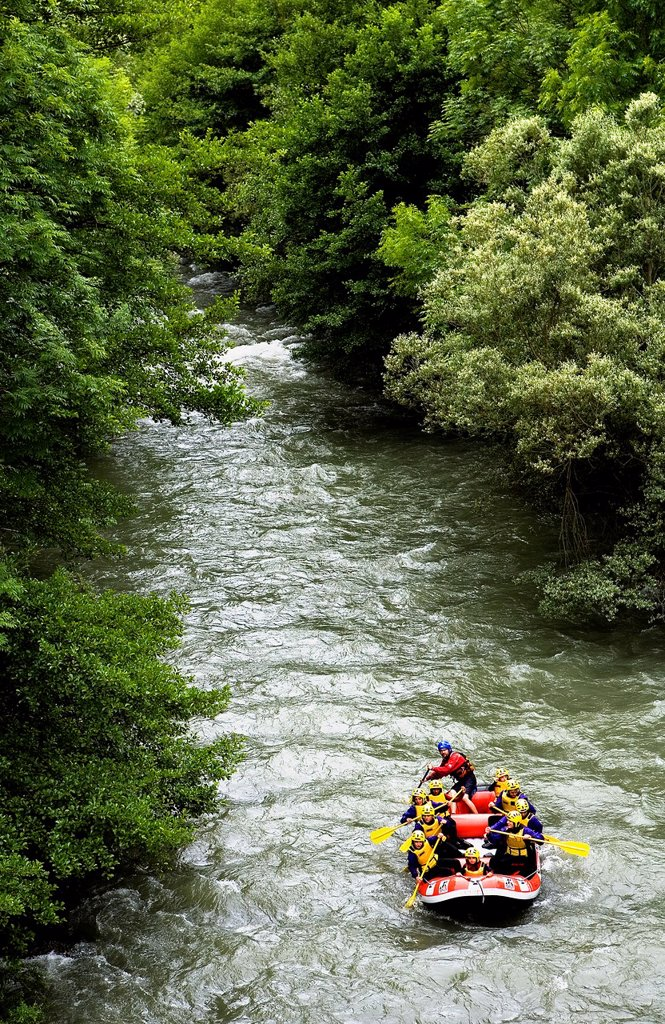 Stock Photo: 1566-881336 Garona river,near Les village  Rafting,Aran Valley,Pyrenees, Lleida province, Catalonia, Spain