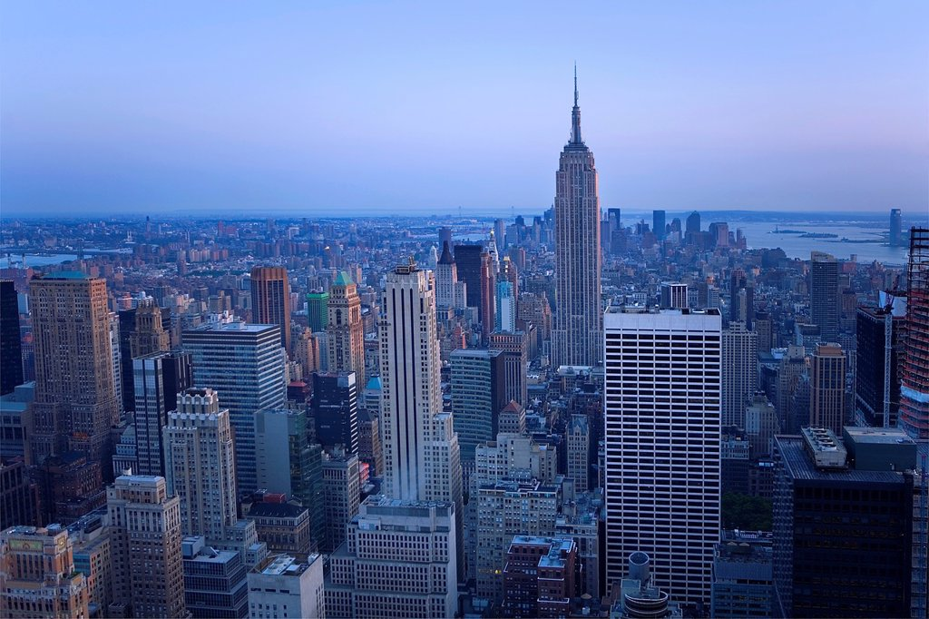 Stock Photo: 1566-881371 Skyline of Manhattan with Empire state building New York City, USA