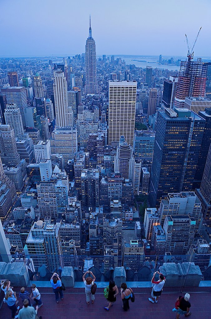Stock Photo: 1566-881372 Skyline of Manhattan with Empire state building, as Seen from Top of Rockefeller Center  New York City, USA